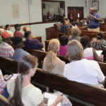 At the Cleone Creque Legislative Hall last week, St. John residents listen to V.I. Public Works officials dscuss the island's roads. (Favebook photo)