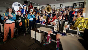 Mucca Pazza, a performance ensemble based in Chicago, performs at the Tiny Desk in 2016. (NPR photo)