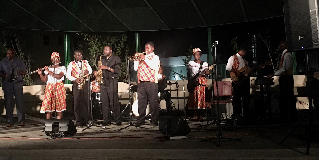 The Flambo Combo performs in San Juan Puerto Rico Saturday evening.