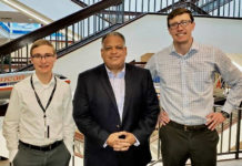 Commissioner designee Joseph Boschulte, center, with American Airlines' Alex McIntyre, left and Kyle Holden at the airline's headquarters in Dallas. (Submitted photo)