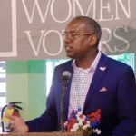 Albert Bryan speaks to the League of Women Voters at the group's 50th annual meeting.