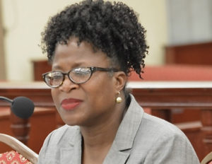 Denise Johannes, director of the division of Corporations and Trademarks, explains her office's reservations about the trademark-name bill. (Photo by Barry Leerdam for the V.I. Legislature)