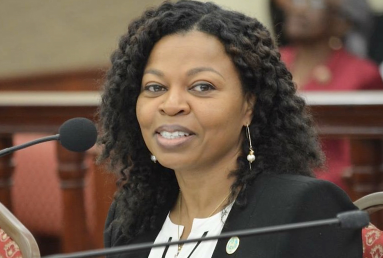 OMB Director Jenifer O'Neal testifies before the Senate earlier this year. (File photo by Barry Leerdam for the V.I. Legislature)