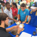 Joseph Townsend, president of UVI's Sea Turtle Club, teaches students about turtles.
