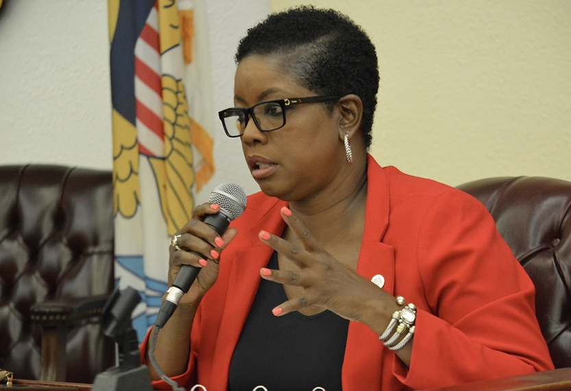 ­Alicia Barnes asks DPW Commissioner nominee Nelson Petty Jr. about VITRAN's stategic plan. (Photo by Barry Leerdam for the Legislature of the Virgin Islands)