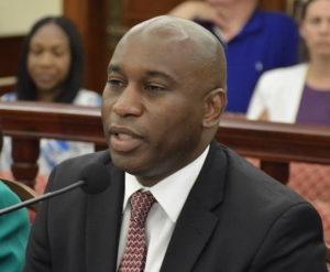 VIHFA Executive Director Daryl Griffith testifies before the V.I. Senate. (Photo by Barry Leedam for the V.I. Legislature)