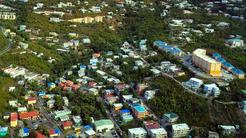 Aerial photo shows plenty of 'blue roofs' dotting St. Thomas.