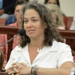 Cosmetic chemist Autumn Blum testifies Monday before the Senate Committee on Government Operations, Consumers and Affairs, describing the toxic chemicals found in most sunscreens. (Photo by Barry Leerdam, USVI Legislature)