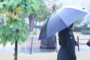 Veterans braved the rain while listening to opening statements in Franklin D. Roosevelt Veterans Park.