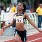 Nia Jack od St. Croix captures one of her three gold medals Sunday at SWAC Conference Championships. Jack runs for the Alabama State University women's track team, which won the meet. (Submitted photo)