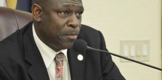 Sen. Stedmann Hodge chairs Monday's Senate hearing. (Photo by Barry Leerdam, Legislature of the Virgin Islands)
