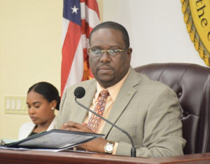 Sen. Kenneth Gittens gavels the Senate into session Wednesday morning. Hours later, he'd been replaced as Senate president. (Photo by Barry Leerdam, Legislature of the Virgin Islands)