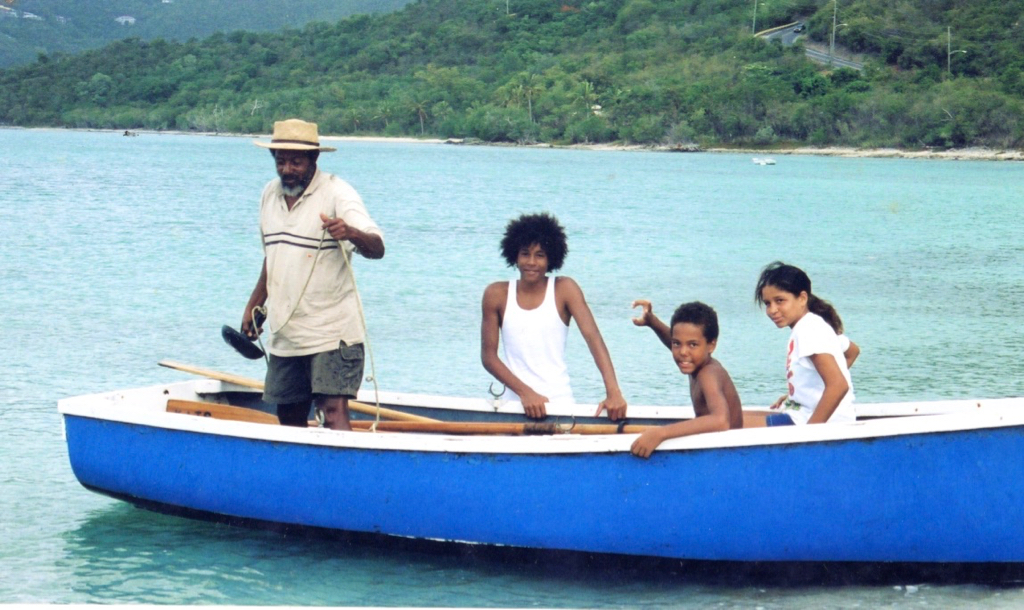 Victor Edwards demonstrates boating skills at John Brewer's Bay in 2006 or thereabouts. (Photo provided by V. Edwards)