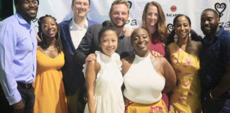 At the April 29 relaunch event, from top row, left: Jed Hope Carter, Raven Carter, partner Benjamin Ireland, partner Michael DelGiacco, Ellie DelGiacco, Africa Miranda, Andre Erysthee; front row from left, partner Phuong Ireland and Yoki Hanley. (Photo by George Armstrong)