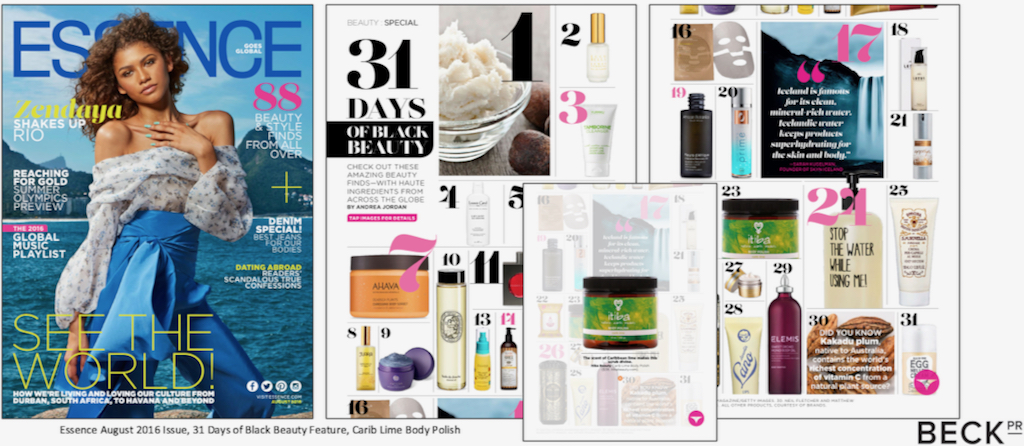 Essence Magazine recognized Itiba in a 2016 spread on 'Amazing Beauty Finds ... From Around the Globe.'