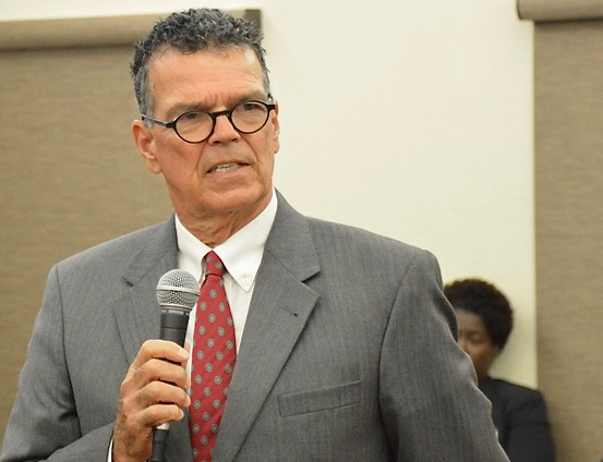 Douglas Brady thanks the legislature for approving his reappointment to the Superior Court. (Photo by Barry Leerdam, Legislature of the Virgin Islands)