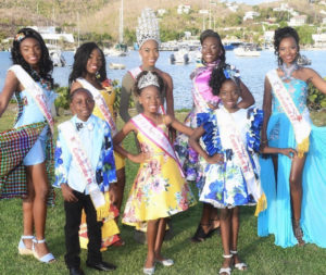 Festival royalty, front row, from left: Lemuel Liburd, 2018 Festival Princess A'mrii Jones, and Elizabeth Farrell. Back row, from left: Je'Nique Sylvester, Zakiyah Gregoire, 2018 Festival Queen Chenijah Dawson, Tamyra Bartlette and Lenisha Richards.