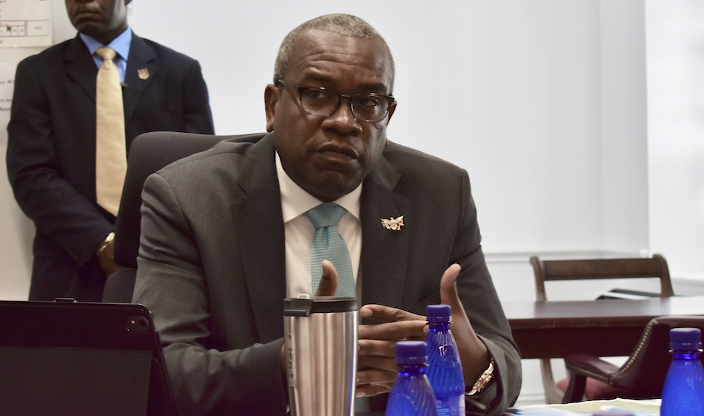 Gov. Albert Bryan responds to news media questions on his administration's budget for Fiscal Year 2020 during a Pen and Pad conference Friday at Government House. (Wyndi Ambrose photo)