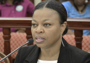 Budget Director Jenifer O'Neal testifies Tuesday. (Photo by Barry Leerdam for the USVI Legislature)