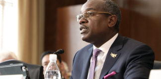 Gov. Albert Bryan testifies before the House Energy Committee earlier this year. (Photo supplied by Government House)