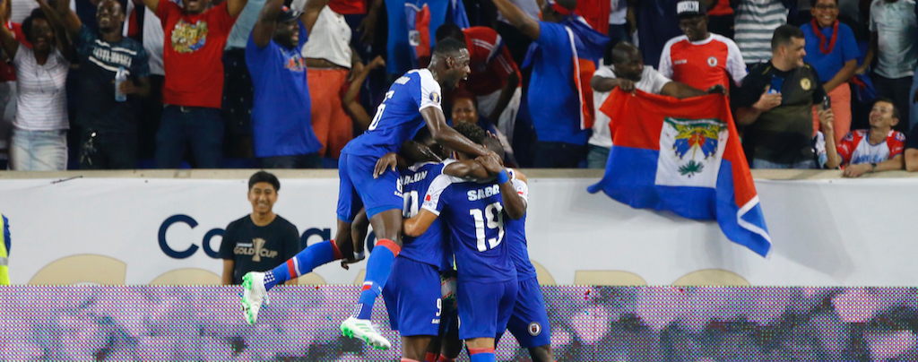 Haiti celebrates after scoring a goal against Costa Rica during group play in the CONCACAF Gold Cup soccer tournament. Photo by Noah K. Murray-USA TODAY Sports)