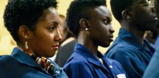 Priscilla Laurent, right, and Raevah Matthew were two of nine women in Limetree Bay Refining's first Basic Operator Training Class. Overall, the entire group comprises of 35 trainees. They graduated Monday in a short ceremony held at the Limetree Bay cafeteria. (Source photo by Wyndi Ambrose)