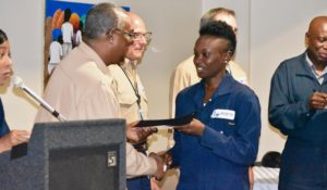 Raevah Matthew receives her Basic Operator's certificate during a brief ceremony at Limetree. (Source photo by Wyndi Ambrose)