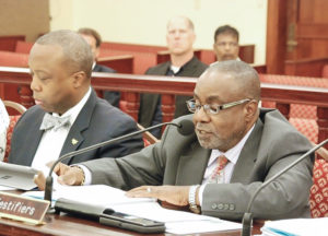Nathan Simmonds, director of finance administration at the Public Finance Authority, testifies before the Senate Finance Committee Monday. (Photo by the V.I. Legislature)