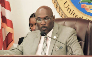 Sen. Novelle Francis (D-STX) presides over Tuesday's Senate session. (Photo by Barry Leerdam for the V.I. Legislature)