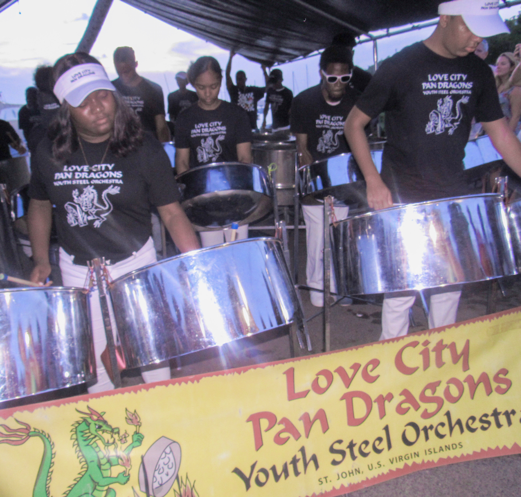 """The Love City Pan Dragons performs in honor of """"Mac"""" O'Donnell, the father of two of the band's members."""