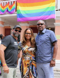 From left, Administrator Sammuel Sanes, first lady Yolanda Bryan and Gov. Albert Bryan, show their support for the second annual St. Croix Pride Parade. (Linda Morland photo)
