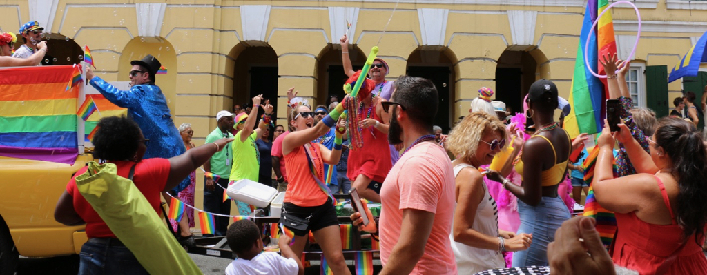 A crowd of all ages greets the St. Croix Pride Parade with eaves and cheers in celebration of diversity in front of Government House in Christiansted. (Linda Morland photo)