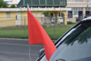 The red-flag theme alluded to the warning signs of abuse.