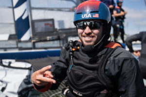 Taylor Canfield of St. Thomas is 'flight controller' onboard the USA SailGP Team F50. (Photo by Matt Knighton for SailGP)