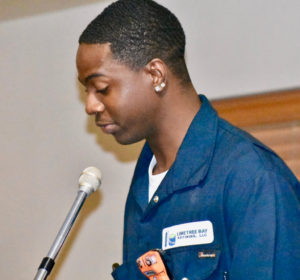 During his speech, 19-year-old Altoglacio Straun said he hopes to go from the youngest trainee in his class to one of the youngest in a management position at Limetree Bay Refining someday. (Source photo by Wyndi Ambrose)