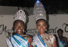 Newly crowned 2019 Junior Miss St. John Festival Tamyra Bartlette and 2019 Miss St. John Festival Queen Lenisha Richards.