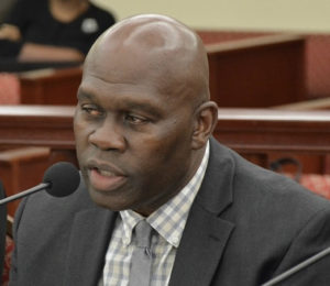 Moleto Smith, representing St. Thomas East End Medical Center, told senators his agency should receive a slice of the reimbursement funds. (Photo by Barry Leerdam, Legislature of the Virgin Islands)