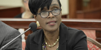 Attorney General Denise George-Counts delivers testimony during Wednesday's meeting of the Senate Committee on Homeland Security, Justice and Public Safety. (Photo by Barry Leerdam, Legislature of the Virgin Islands)