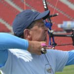 Bruce Arnold takes aim as he prepares to compete at the U.S. Archery National Championship this month in Ohio. (File photo)