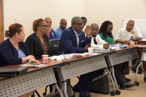 Gov. Albert Bryan Jr. comments on the benefits of integrating EMS and Fire during a recent meeting of the administration's VIFEMS integration team. (Government House photo)