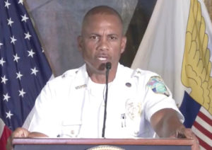 St. Croix Police Chief William Harvey describes recent spate of violent crimes. (Image captured from the V.I. Government's livestream of the press conference)