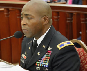 Col. Kodjo Knox-Limbacker, nominated to be adjustant general of the V.I. National Guard, testifies Thursday before the Senate Committee on Rules and Judiciary. (Photo by Barry Leerdam, Legislature of the U.S. Virgin Islands)