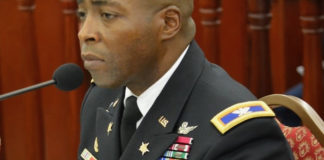 Col. Kodjo Knox-Limbacker, nominated to be adjustant general of the V.I. National Guard, testified Thursday before the Senate Committee on Rules and Judiciary. (Photo by Barry Leerdam, Legislature of the U.S. Virgin Islands)