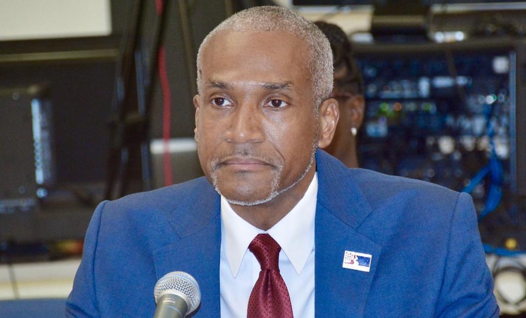 Kamal Latham, CEO of the Economic Development Authority, testifies at Tuesday's Finance Committee hearing. (V.I. Legislature Photo)