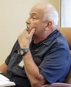 Director of Marine and Cruise Operations Mark Sabino tells the WICO board about potential problems in the coming tourist season. (Source photo by Bethaney Lee)