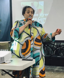 Mary Elliott, Curator National Museum of African American History and Culture, addresses the audience at the Guinea Warehouse. (Source photo by Elisa McKay)
