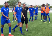 The territory's U-23 team receives instruction during the June training camp at the new Bethlehem Soccer Complex on St. Croix. (Source photo by Kyle Murphy)