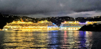 Multiple cruise ships dock at WICO and stay until late evening before departing the island of St. Thomas. Cruise line companies set security requirements for ports their ships visit, including a fire-fighting boat. (Source photo)