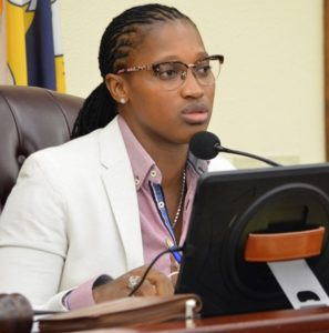 Sen. Janelle Sarauw chairs of the Rules and Judiciary Committee (photo by Barry Leerdam, Legislature of the Virgin Islands).