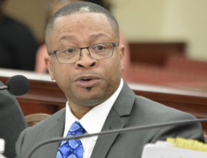 Adrian Wade Taylor answers a question at Tuesday's budget hearing. (Photo by Barry Leerdam, Legislature of the U.S. Virgin Islands)